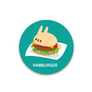 ダットフード缶バッジ(ハンバーガー)