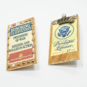 古切手のウッドブローチ(C)